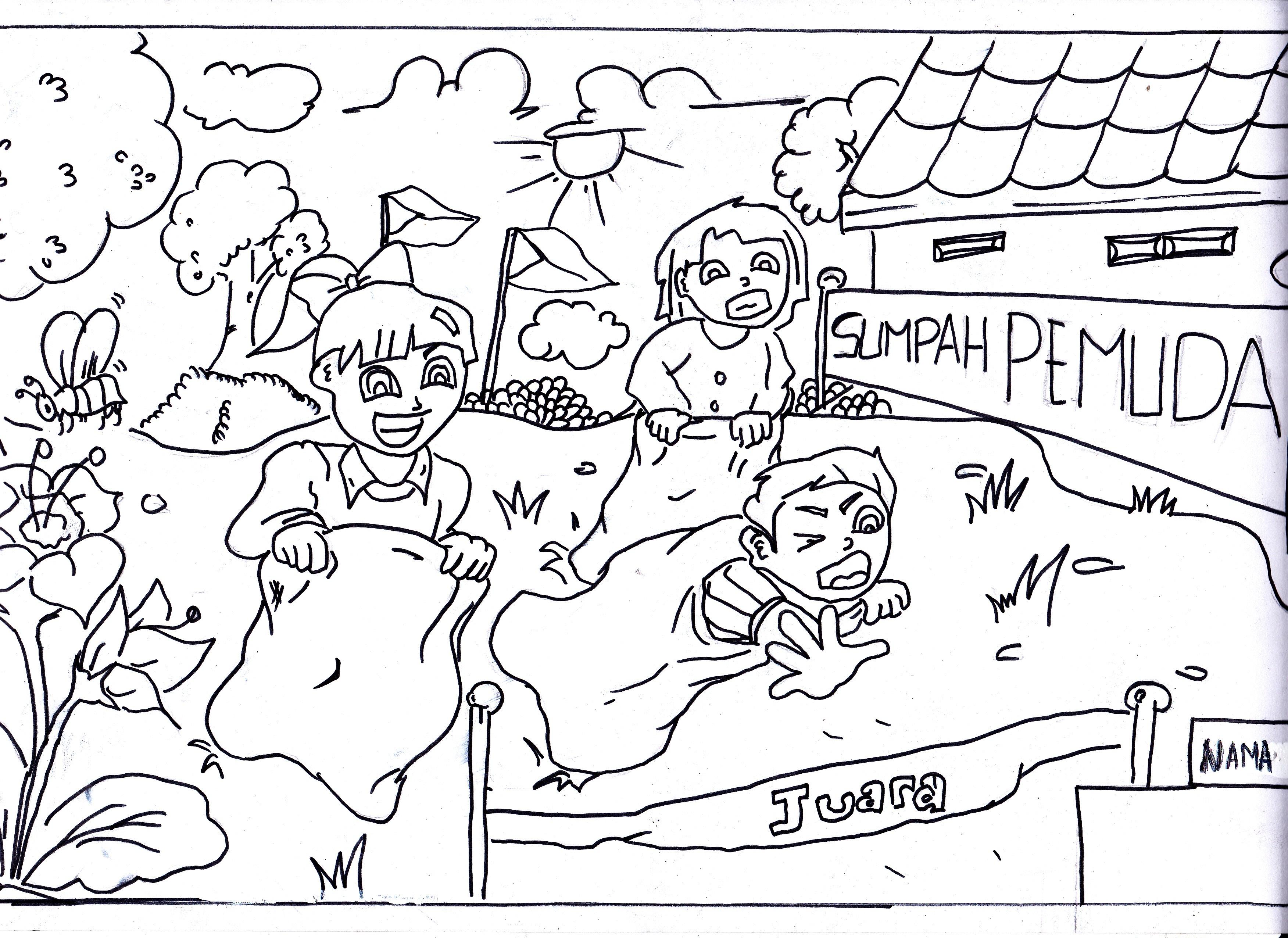 Gambar Sketsa Kemerdekaan 28 Images Mewarnai Hut Ri 1 Guru